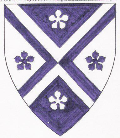 Device: Per saltire purpure and argent, a saltire between four cinquefoils counterchanged.