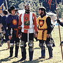 Corin du Soliel as king of the Midrealm at Pennsic 14 with two of his squires (Aylmar de North Allerton.and Grendalad who would become Danr)