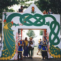 Members of the Barony of Jararvellir guarding the Midrealm gate (Pennsic 27, 1997) under the command of Kitakaze Tatsu Raito