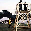 Northshield's Siege Tower and it's architect (Ed the Tall) at Pennsic 27 (1997)