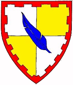 Device: Quarterly argent and Or, a feather bendwise azure within a bordure embattled gules