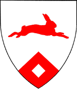 Device: Argent, a rabbit courant to sinister and on a point pointed gules, a lozenge argent.