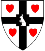 Device: Argent, on a cross quadrate sable between four hearts gules a rabbit sejant erect argent.