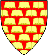 Device: Gules semy of open books Or.