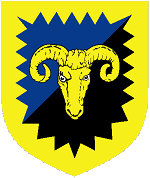 Device: Per bend sinister azure and sable, a ram's head cabossed within a bordure indented Or