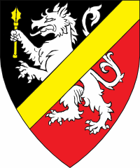 Device: Per bend sinister sable and gules, a tyger rampant argent maintaining a mace, overall a bend sinister Or