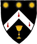 Device: Sable, on a chevron argent between three suns and a chalice Or, three gouttes de sang.