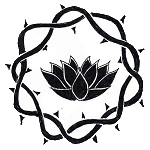 Device: Argent, a lotus blossom in profile within a crown of thorns sable.