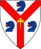 Device: Argent, on a pall gules between three talbot's heads couped azure, a cross formy fitchy Or