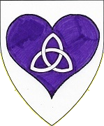 Device: Argent, on a heart purpure a triquetra argent 