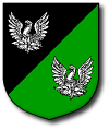 Device: Per bend sinister sable and vert, in bend two phoenixes argent.