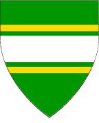 Device: Vert, a fess argent cotised Or.