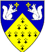 Device: Per chevron azure and erminois, in 