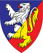 Device: Per bend sinister azure and gules, a lion rampant per bend sinister argent and Or
