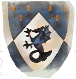 Device: Per chevron azure semy of wheat stalks Or, and argent, a sea dragon azure and a bordure counterchanged