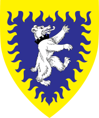 Device: Azure, a bear rampant contourny argent gorged of a embattled coronet sable, a bordure rayonny Or.