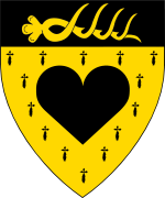 Device: Erminois, a heart on a chief Sable a stags attire or