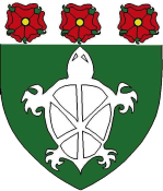 Device: Vert, a turtle and on a chief argent three roses proper.
