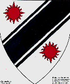 Device: Argent, a bend sinister cotised sable between two suns gules.