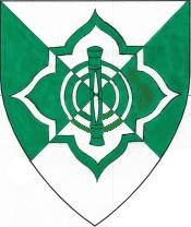 Device: Per saltire argent and vert, a punner within a four-lobed quadrate cornice counterchanged.