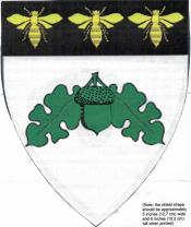 Device: Argent, a sprig of oak vert and on a chief sable three bees Or.