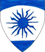 Device: Argent, a sun between a chief enarched and base azure.