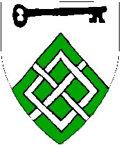 Device: Per chevron argent and vert, a key contourny sable and a fret argent.